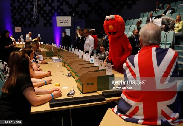 Independent candidate Bobby Elmo Smith watches the byelection count on June 07 2019 in Peterborough England Brexit Party candidate Mike Greene is...