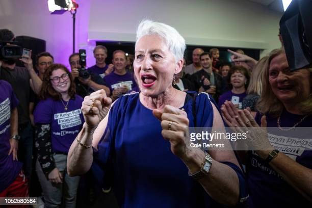 Independent candidate Dr Kerryn Phelps arrives victorious at the North Bondi Surf Lifesaving Club on October 20 2018 in Sydney Australia Despite...