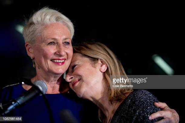 Independent candidate Dr Kerryn Phelps stands next to her wife Jackie StrickerPhelps as she delivers a speech to her team and the media at the North...