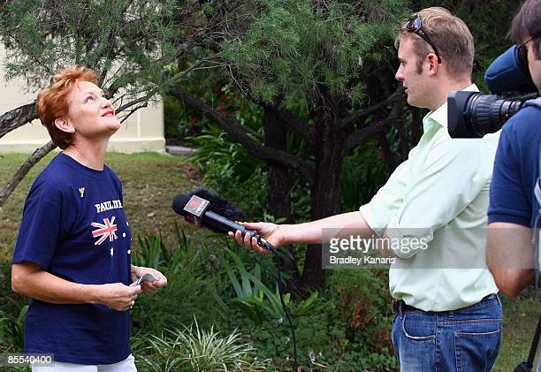 Independent candidate for Beaudesert Pauline Hanson is interviewed by the media at the Boonah State Primary School during the Queensland State...