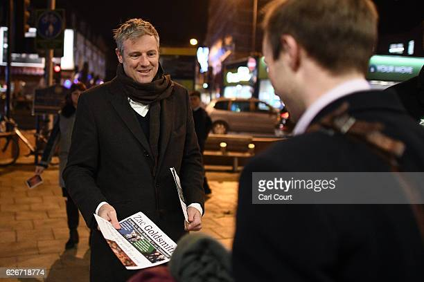 Independent candidate Zac Goldsmith canvasses ahead of the Richmond Park byelection on November 30 2016 in Kingston upon Thames England The...