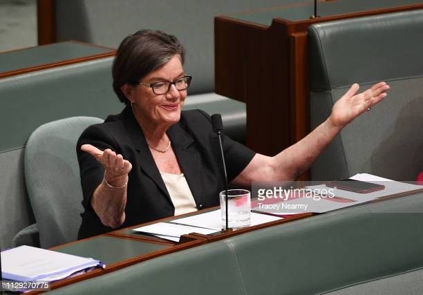 Independent Cathy McGowan reacts to the answer given by the Prime Minister Scott Morrison on creating a white paper for regional Australia during...