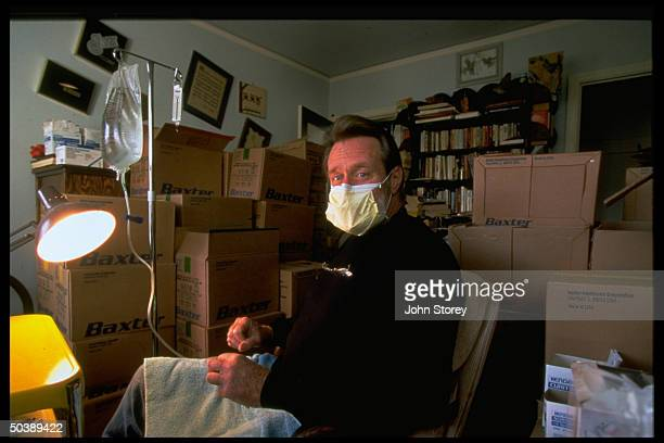 Independent construction contractor Paul Brady undergoing daily two hourlong dialysis session re having donated one of his kidneys to brother Bill 27...