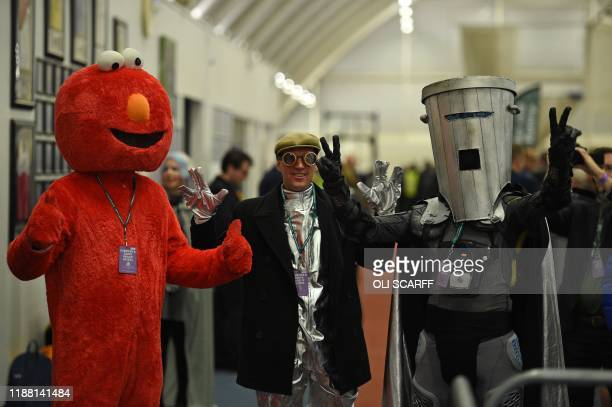 "Independent, Count Binface and Bobby ""Elmo"" Smith pose for a photograph as he waits for the results in the count centre in Uxbridge, in west London,..."