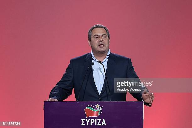 Independent Greeks leader Panos Kammenos delivers a speech during SYRIZA party's congress in Athens Greece on October 13 2016