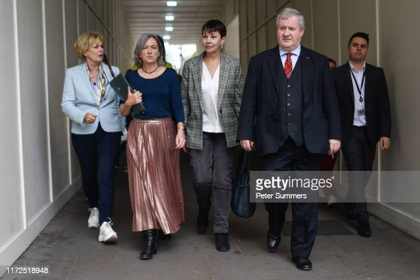 MP Independent Group for Change Anna Soubry Plaid Cymru MP Liz SavilleRoberts Green Party MP Caroline Lucas and SNP MP Ian Blackford arrive for cross...