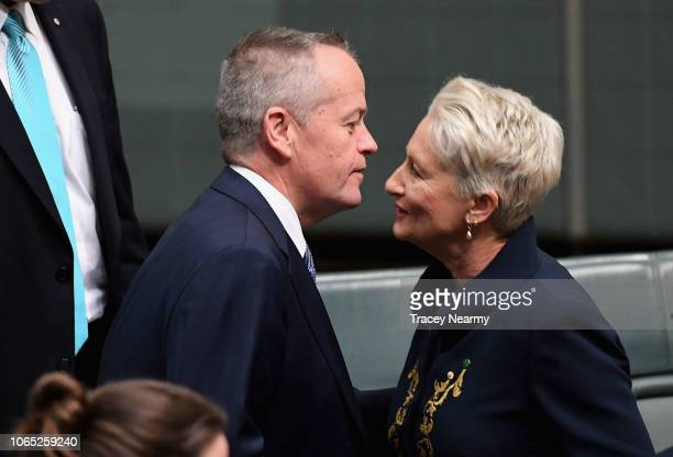 Independent Kerryn Phelps is congratulated by Opposition leader Bill Shorten after her maiden speach having been officially sworn into parliament at...