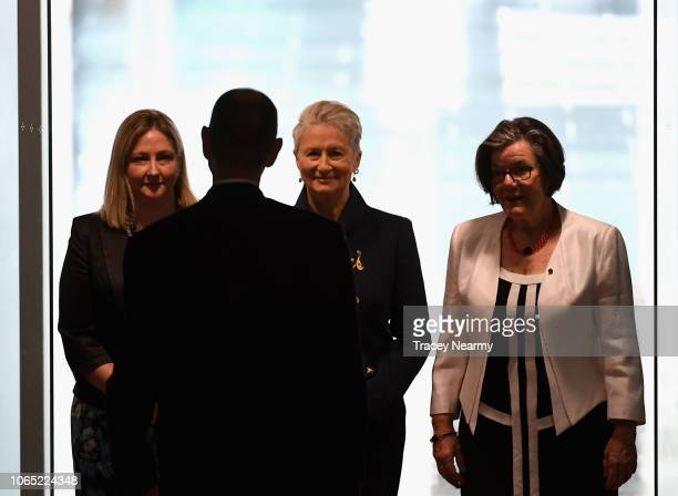 Independent Kerryn Phelps is flanked by Independent Cathy McGowan and crossbencher Rebekha Sharkie as she is officially sworn into parliament at...