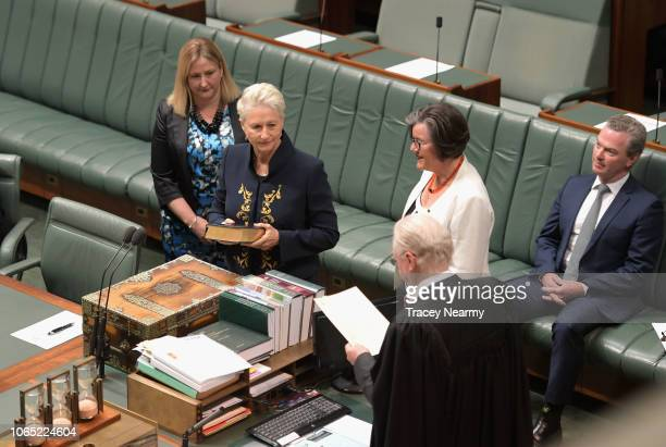 Independent Kerryn Phelps is flanked by Independent Cathy McGowan and crossbencher Rebekha Sharkie as the Prime Minister Scott Morrison's chair sits...