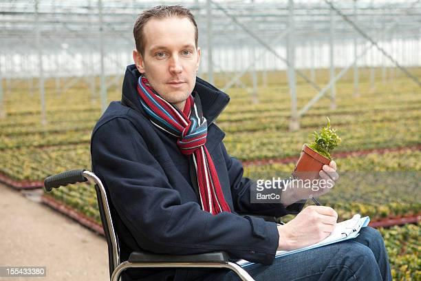 Independent man in wheelchair