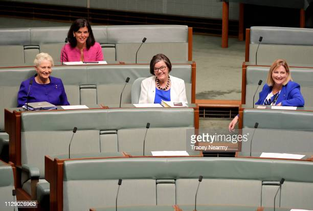 Independent ministers Kerryn Phelps Julia Banks Cathy McGowan and Rebekha Sharkie sit in the House of Representatives on February 12 2019 in Canberra...