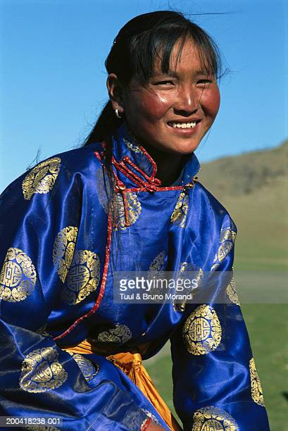 independent mongolia, arkhangai province, young woman smiling - mongolian women stock photos and pictures