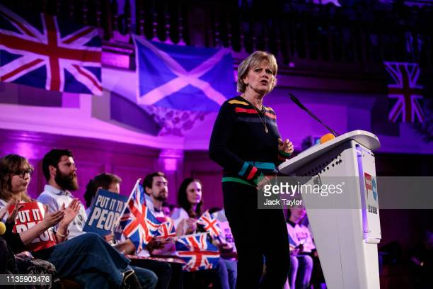 Independent MP Anna Soubry speaks at a 'People's Vote' rally calling for another referendum on Brexit on April 9 2019 in London England British Prime...