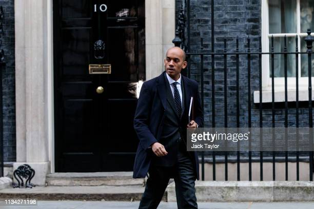 Independent MP Chuka Umunna leaves Number 10 Downing Street on April 1 2019 in London England British Prime Minister Theresa May hosts summit on...