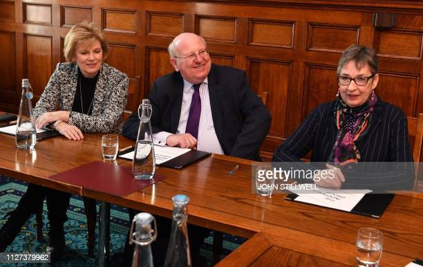 Independent MPs Anna Soubry Mike Gapes and Ann Coffey pose for a photograph as The Independent Group of MPs hold their first meeting in London on...