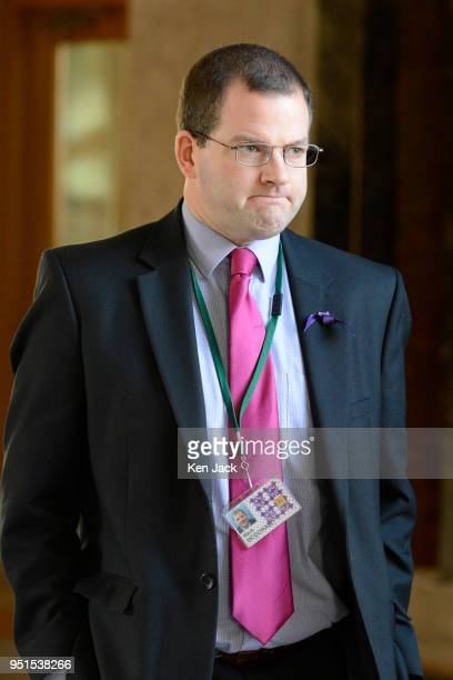Independent MSP Mark McDonald on the way to First Minister's Questions in the Scottish Parliament on April 26 2018 in Edinburgh Scotland
