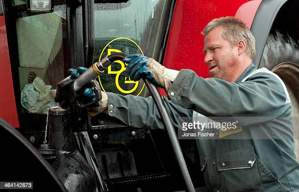 Independent petrol station of the company Agro Boerdegruen a worker of the company refilling a farm tractor with biodiesel on June 20 in...