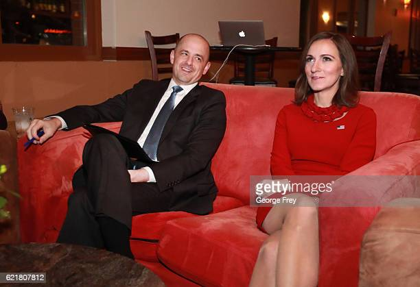 S independent presidential candidate Evan McMullin and his running mate Mindy Finn watch election results in a backroom at an election night party on...