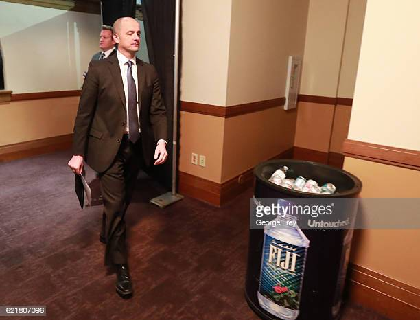 S independent presidential candidate Evan McMullin arrives to watch election results in a backroom at an election night party on November 8 2016 in...