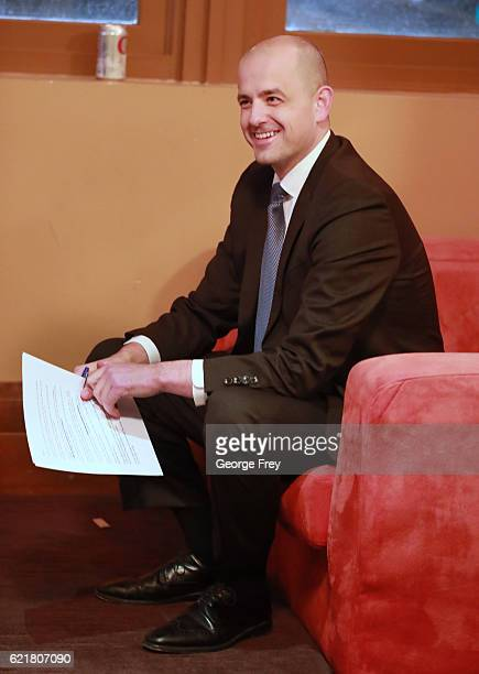 S independent presidential candidate Evan McMullin goes over his speech he will give to supporters at an election night party on November 8 2016 in...