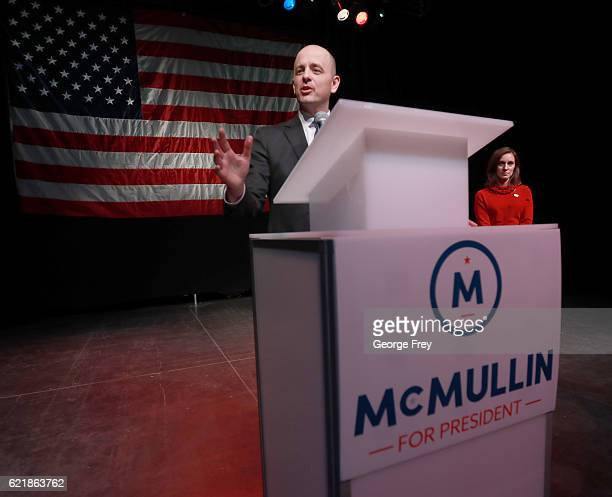 S Independent presidential candidate Evan McMullin speak to supporters as his running mate Mindy Finn listens at an election night party on November...