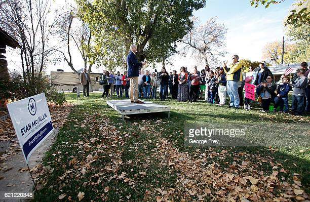S independent presidential candidate Evan McMullin talks to supporters that have gather for a rally at a city park on November 5 2016 in Nephi Utah...