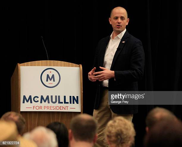 S independent presidential candidate Evan McMullin talks to supporters at a rally on November 5 2016 in St George Utah McMullin held campaign rallies...