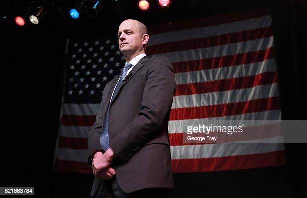 S Independent presidential candidate Evan McMullin waits to speak to supporters at an election night party on November 8 2016 in Salt Lake City Utah...