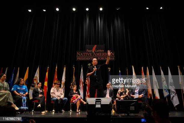Independent presidential candidate Mark Charles speaks at the Frank LaMere Native American Presidential Forum on August 20 2019 in Sioux City Iowa...
