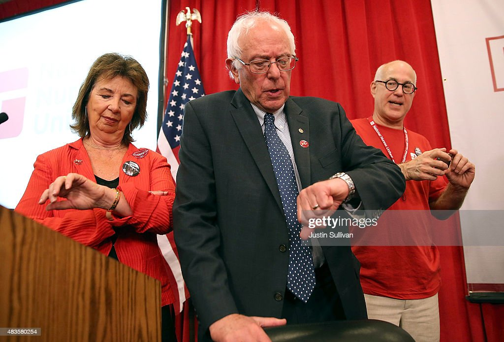 Independent presidential candidate U.S. Sen. Bernie Sanders (I-VT) checks his watch during a 'Brunch with Bernie' campaign rally at the National Nurses United offices on August 10, 2015 in Oakland, California. The National Nurses United members announced their endorsement for independent presedential candidate Sen. Bernie Sanders during a campaign stop before he heads to Los Angeles for a campaign rally in Los Angeles at the Memorial Sports Arena.