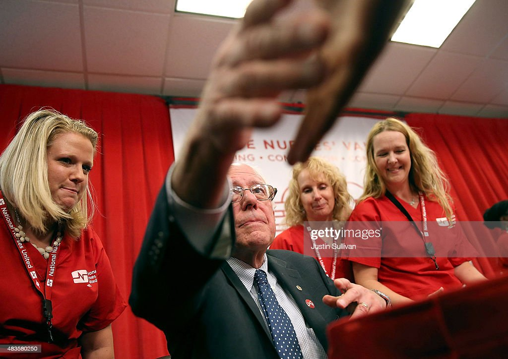 Independent presidential candidate U.S. Sen. Bernie Sanders (I-VT) shakes hands with a nurses from the National Nurse United during a 'Brunch with Bernie' campaign rally at the National Nurses United offices on August 10, 2015 in Oakland, California. The National Nurses United members announced their endorsement for independent presedential candidate Sen. Bernie Sanders during a campaign stop before he heads to Los Angeles for a campaign rally in Los Angeles at the Memorial Sports Arena.