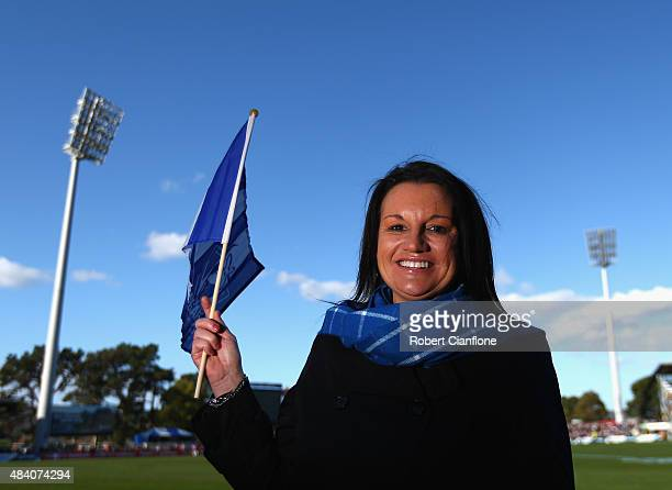 Independent Senator Jacqui Lambie poses prior to the round 20 AFL match between the North Melbourne Kangaroos and the St Kilda Saints at Blundstone...