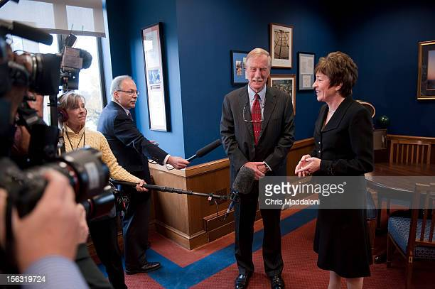 Independent Senatorelect Angus King greets the senior Senator from his state Sen Susan Collins RMaine in her Dirsken Senate office