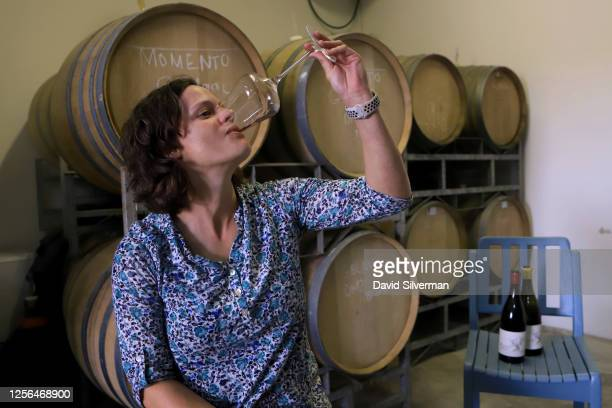 Independent South African winemaker Marelise Niemann, who launched her own Momento label in 2013, during a tasting of her Momento Grenache Noir 2018...