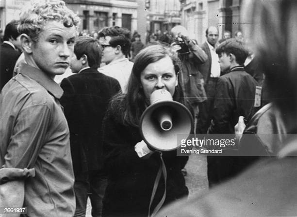 Independent Unity MP for MidUlster and youngest MP in Britain Bernadette Devlin in Derry during the Battle of the Bogside