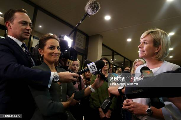Independent Warringah candidate Zali Steggall is interviewed by Lachlan Kennedy and Jayne Azzopardi as she arrives at the Novotel Sydney Manly...