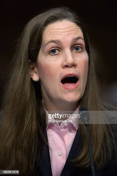 Independent Women's Forum Senior Fellow Gayle Trotter testifies during a Senate Judiciary Committee hearing about gun control on Capitol Hill January...