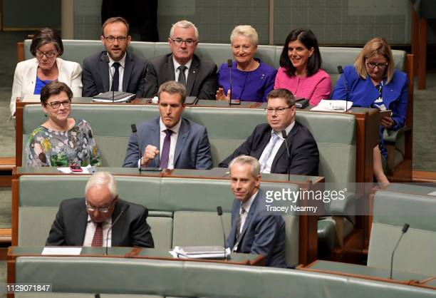Independents Andrew Wilkie Rebekha Sharkie Adam Bandt Cathy McGowan Julia Banks and Kerryn Phelps vote and pass the Medivac Bill in the House of...