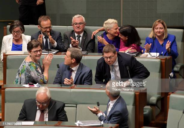 Independents Cathy McGowan Adam Bandt Andrew Wilkie Kerryn Phelps Julia Banks and Rebekha Sharkie celebrate passing the Medivac Bill in the House of...
