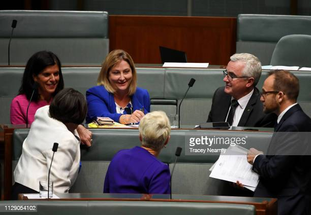 Independents Julia Banks Cathy McGowan Rebekha Sharkie Kerryn Phelps as they wait for the start of question time in the House of Representatives on...