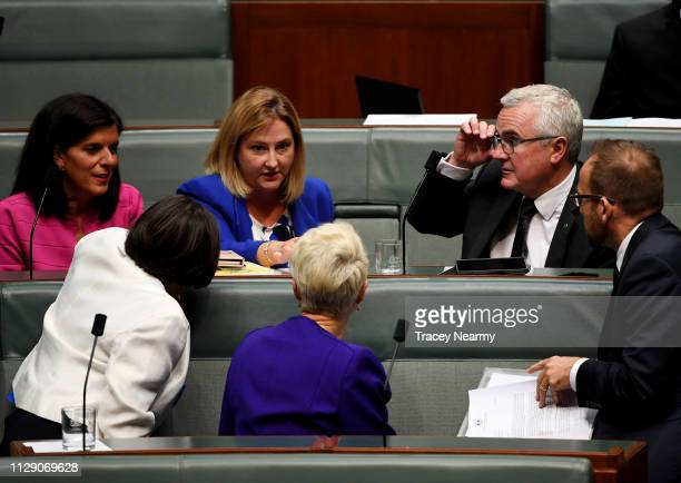 Independents Julia Banks Cathy McGowan Rebekha Sharkie Kerryn Phelps Andrew Wilkie and Adam Bandt speak after question time in the House of...