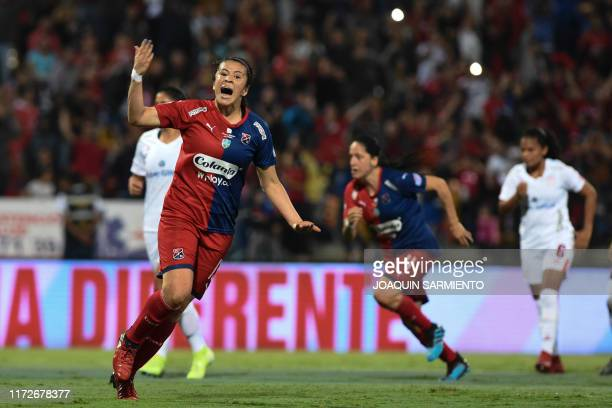 Independiente Medellin's Laura Aguirre celebrates after scoring against America de Cali during the final match of the Colombian women's football...