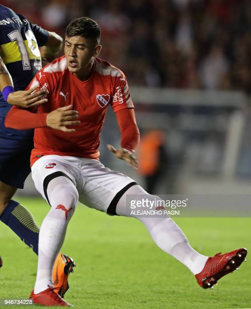 Independiente's defender Alan Franco during their Argentina First Division Superliga football match against Boca Juniors at the Libertadores de...