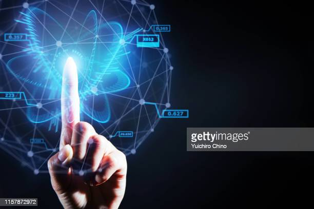 index finger access big data using ai - big data health stock pictures, royalty-free photos & images