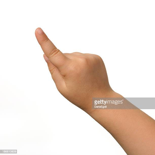 Index of a child's right hand on white background