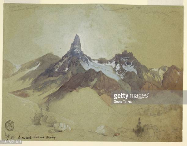 Index Peak, Clarks Fork, Wyoming, Thomas Moran, American, b. Britain, 1837–1926, Brush and watercolor, white gouache, graphite on wove blue-green...