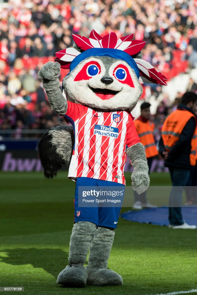 Indi, the Apache Indian Atletico de Madrid club mascot, greets prior to the La Liga 2017-18 match between Atletico de Madrid and UD Las Palmas at Wanda Metropolitano on January 28 2018 in Madrid, Spain.