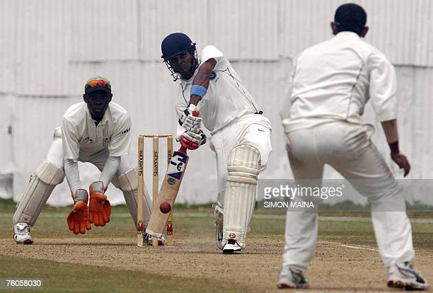 India A batsman Subramaniath Badrinath hits a delievery against Kenya's bowler Hiren Varaiya at the Mombasa Sports Club 11 August 2007 during their...