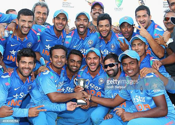 India 'A' celebrate with the trophy after winning the match during the Cricket Australia Quadrangular Series Final match between Australia 'A' and...