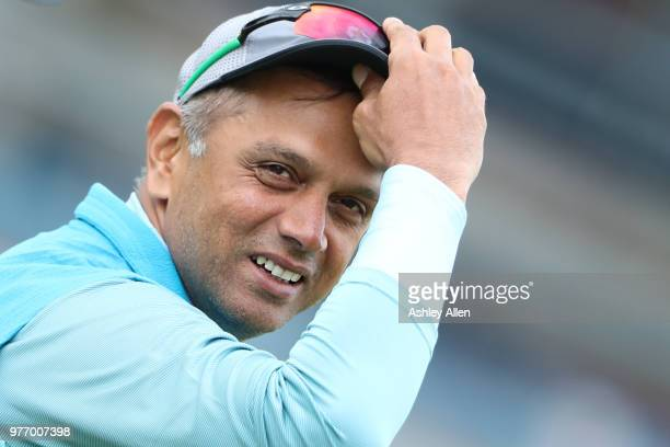 India A coach Rahul Dravid during a tour match between ECB XI v India A at Headingley on June 17 2018 in Leeds England